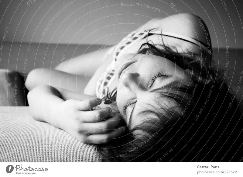 sleeping beauty Human being Feminine Young woman Youth (Young adults) Body Head Face Hand 1 Lie Sleep Dream Beautiful Black White Calm Loneliness Fatigue