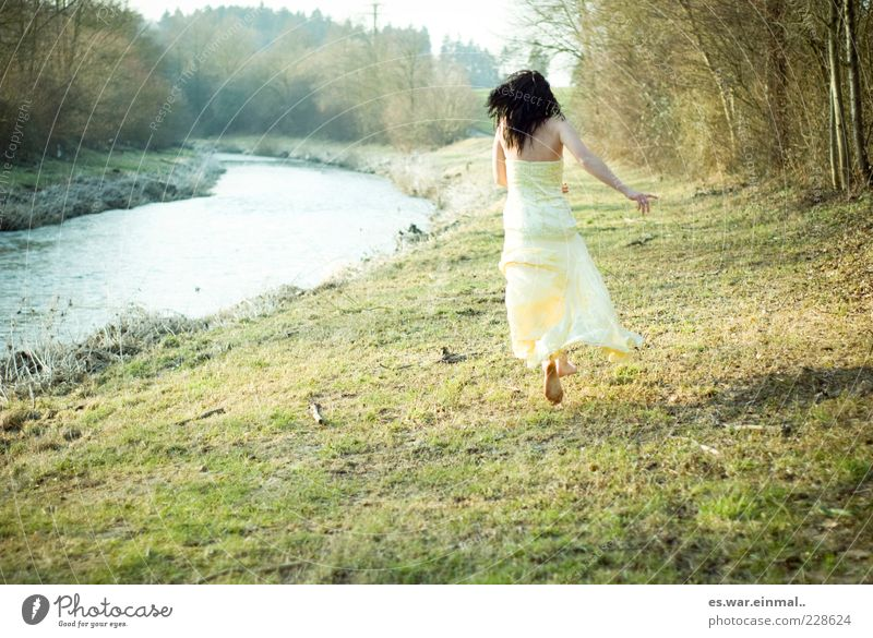 let go. Woman Adults Brook Dress Black-haired Walking Running Jump Elegant Natural Beautiful Yellow Brave Determination Emotions Mysterious Ease Past
