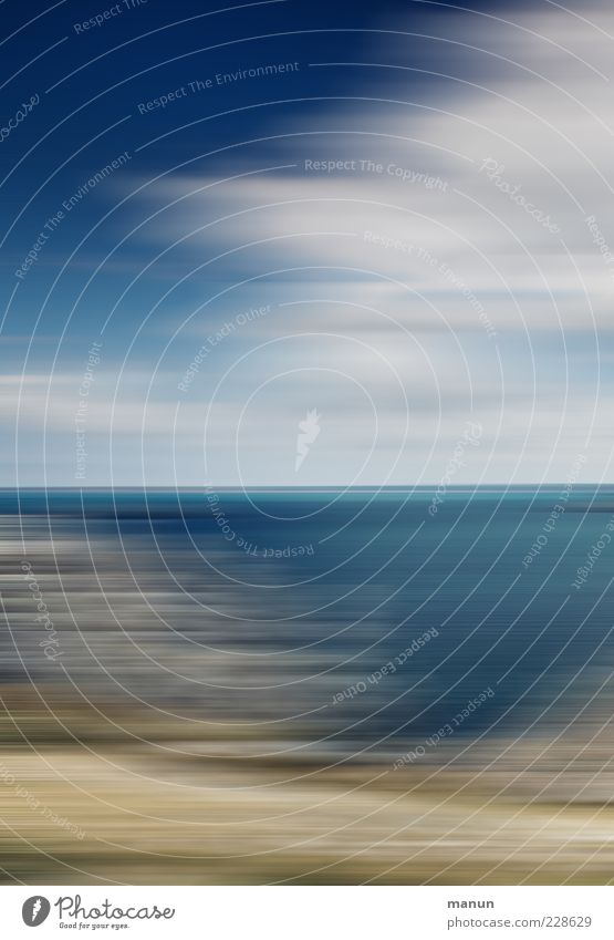 Day at the sea Nature Landscape Elements Coast Ocean Colour photo Exceptional Motion blur Speed Deserted Clouds Sky