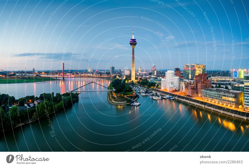 Vacation & Travel Town Architecture Building Tourist Attraction Skyline Landmark Panorama (Format) Harbour Monument Port City Duesseldorf Rhine