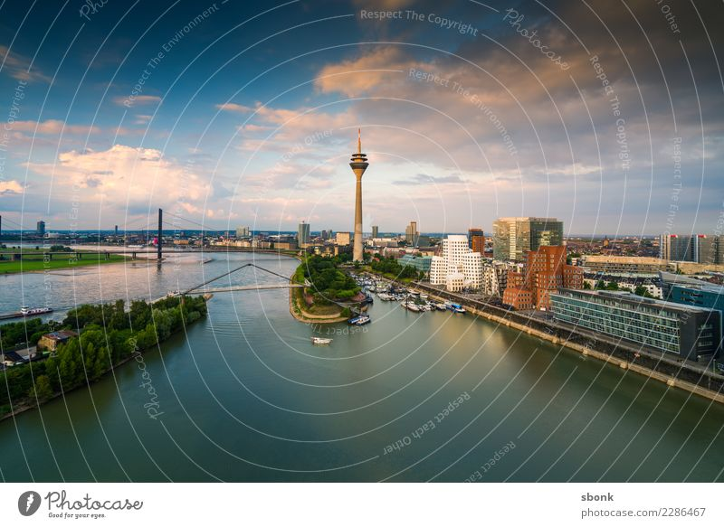 Düsseldorf from above Duesseldorf Town Port City Downtown Skyline Building Architecture Navigation Boating trip Harbour Tourism media harbour Panorama (Format)