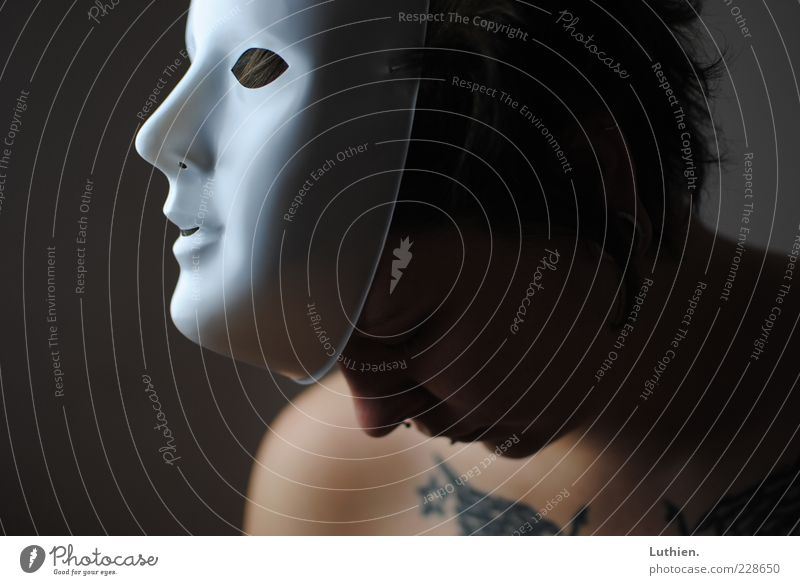masquerade Human being Feminine Young woman Youth (Young adults) Woman Adults Head Nose Mouth 1 Looking Esthetic Dark Creepy Blue Gray Emotions Mask White