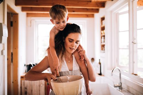 Mother and son baking together in kitchen Child Winter Adults Family & Relations Boy (child) Together Infancy Smiling Kitchen Hut Toddler Parents Home