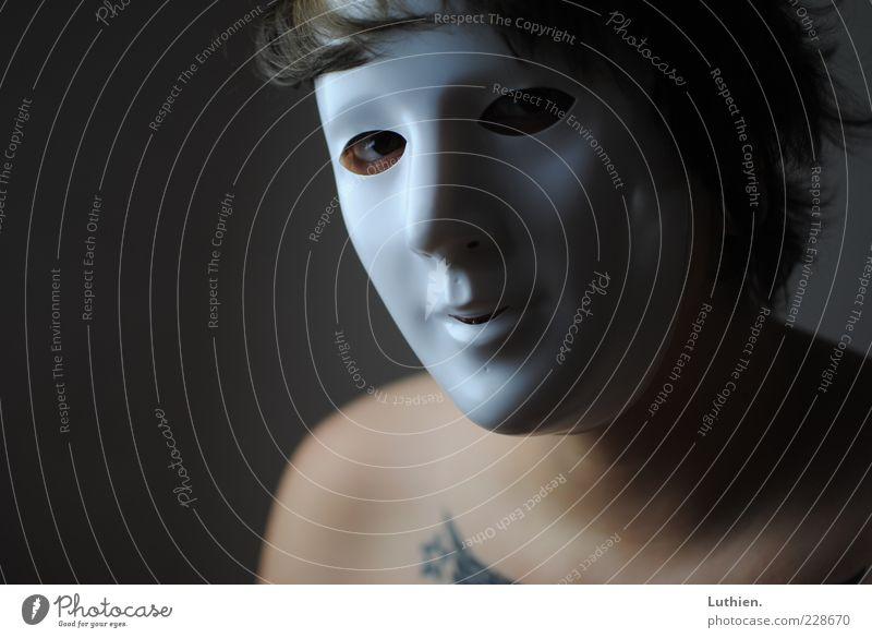 masquerade Human being Woman Adults Skin 1 Looking Esthetic Dark Creepy Beautiful Blue Gray White Whimsical Hide Mask Carnival Feminine Colour photo