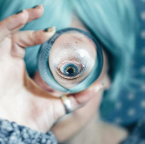 Blue eye viewed through a crystal ball Human being Feminine Young woman Youth (Young adults) 1 18 - 30 years Adults Art Artist Culture Crystal ball Distorted