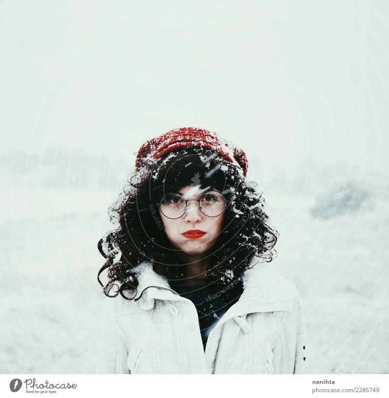 Young brunette woman in a snowy day Human being Nature Youth (Young adults) Young woman Beautiful White Winter 18 - 30 years Adults Lifestyle Environment Cold