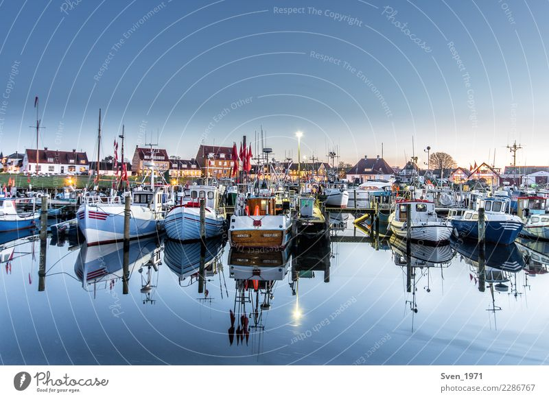 Gilleleje fishing port Vacation & Travel Fishery Water Cloudless sky Sunrise Sunset Baltic Sea Denmark Europe Fishing village Harbour Fishing boat Calm