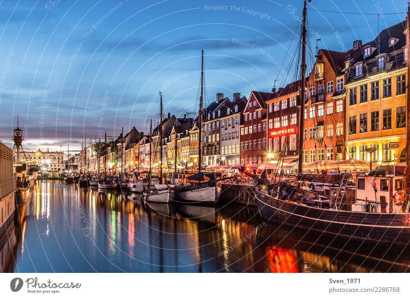 Nyhavn Copenhagen in the evening Vacation & Travel Tourism City trip Night life Sailing Sunrise Sunset Baltic Sea Denmark Europe Capital city Port City Harbour