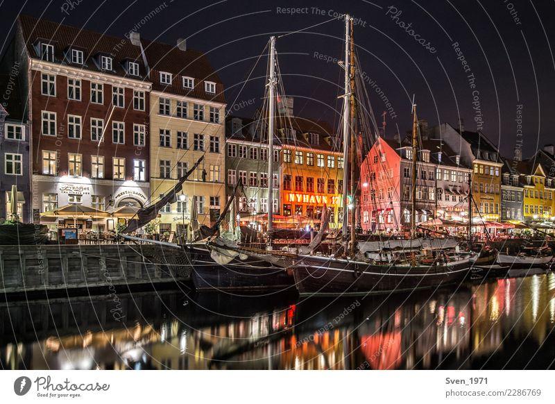 Nyhavn Copenhagen at night Vacation & Travel City trip Night life Sailing Baltic Sea Denmark Europe Capital city Port City Harbour Navigation Sailing ship