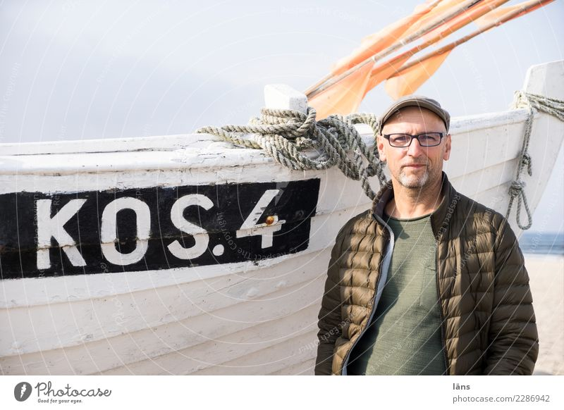 optimistic man at the fishing boat Vacation & Travel Tourism Trip Beach Ocean Human being Masculine Man Adults Life 1 45 - 60 years Environment Sky
