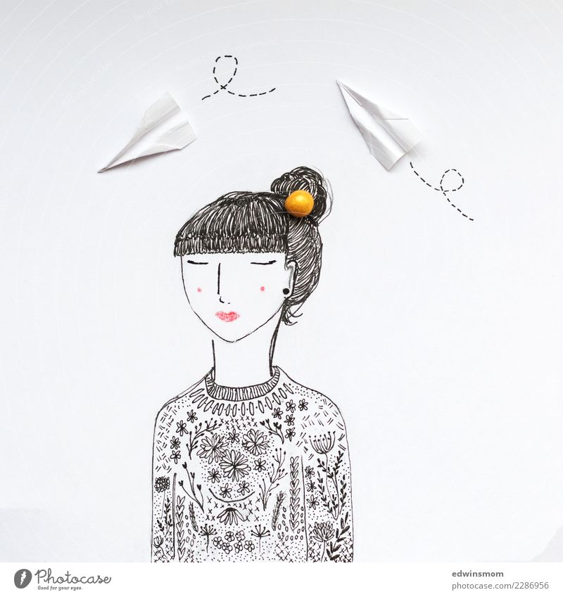 dreams Leisure and hobbies Handicraft Feminine 1 Human being Sweater Black-haired Paper Decoration Paper plane Breathe To enjoy Cool (slang) Natural Beautiful