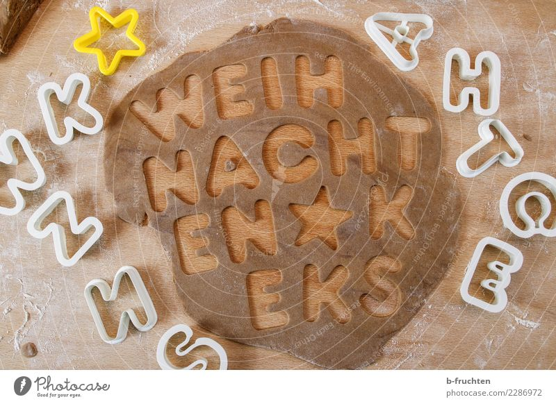 Christmas biscuits Candy Christmas & Advent Brown Baking lebkuchen dough Dough Cookie cookie cutter Pierce Bakery Kitchen Flour Letters (alphabet) Word