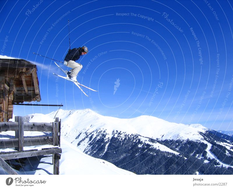 About the Alps Vacation & Travel Winter Snow Mountain Sports Sportsperson Skiing Sky Hut Fitness Jump Infinity Athletic Blue White Dangerous High spirits Action