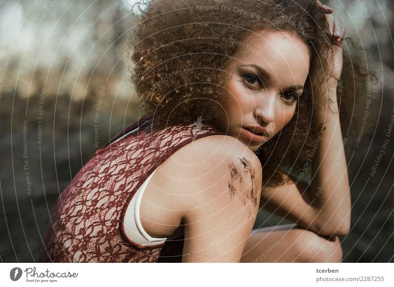 Portrait of woman with afro hair and shoulder smeared with mud Human being Youth (Young adults) Young woman Summer Beautiful Eroticism 18 - 30 years Adults