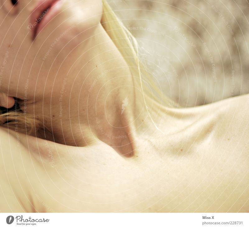 reclining Human being Feminine Young woman Youth (Young adults) Skin 1 18 - 30 years Adults Beautiful Collarbone Neck Colour photo Interior shot