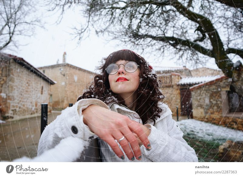Young woman enjoying a snowy day Lifestyle Style Wellness Well-being Vacation & Travel Tourism Winter Snow Winter vacation Human being Feminine