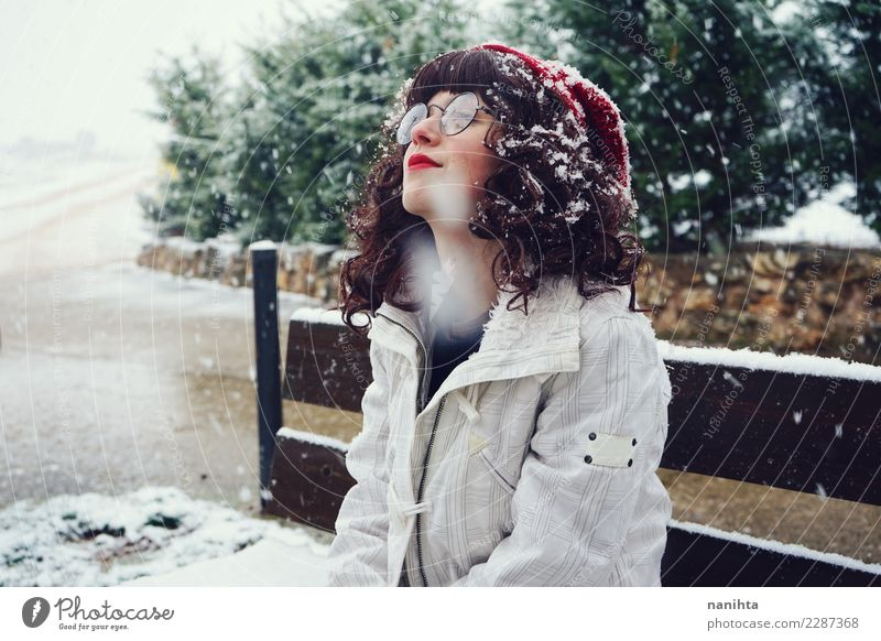 Young nerdy woman enjoying a snowy day Lifestyle Style Joy Beautiful Wellness Well-being Senses Relaxation Vacation & Travel Freedom Winter Snow Winter vacation