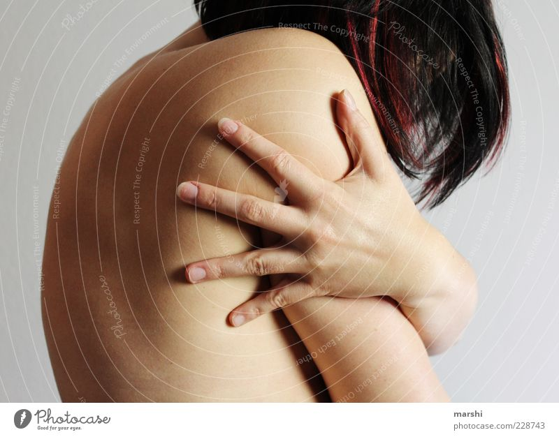 Woman Human being Youth (Young adults) Hand Loneliness Feminine Adults Naked Hair and hairstyles Body Fear Back Skin To hold on Protection Touch