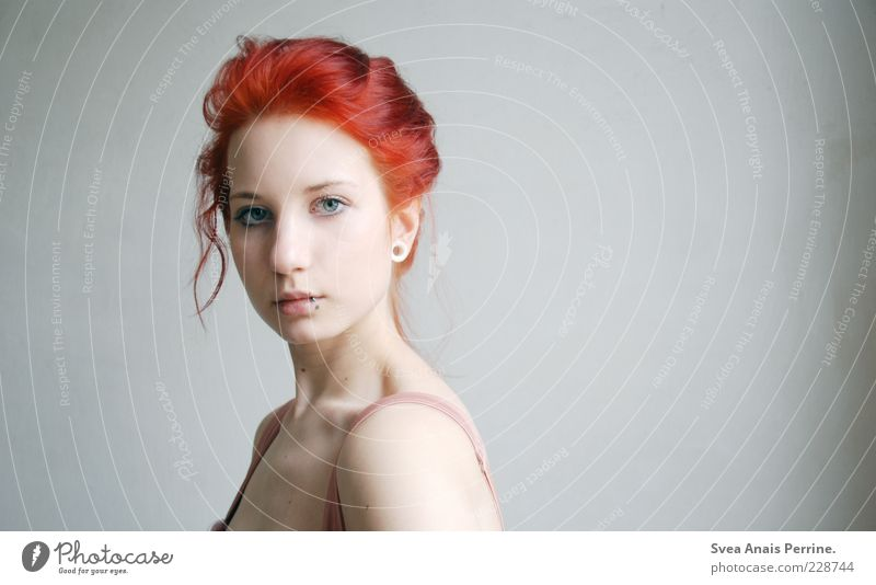 red. Elegant Style Feminine Young woman Youth (Young adults) Head 1 Human being 18 - 30 years Adults Hair and hairstyles Red-haired Exceptional Thin Beautiful