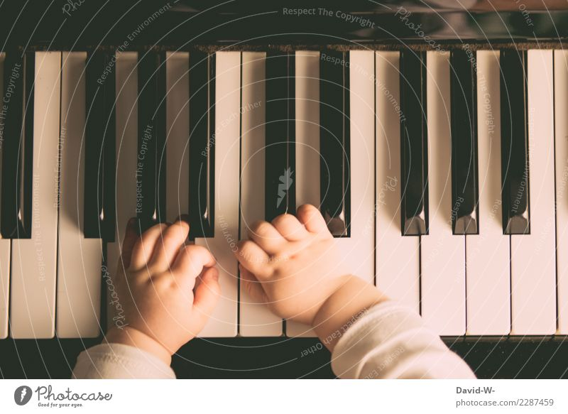 Toddler plays piano with delicate hands Piano early musical education Play piano Child Baby Cute beautifully Warm colour Wonderful Delicate Infancy
