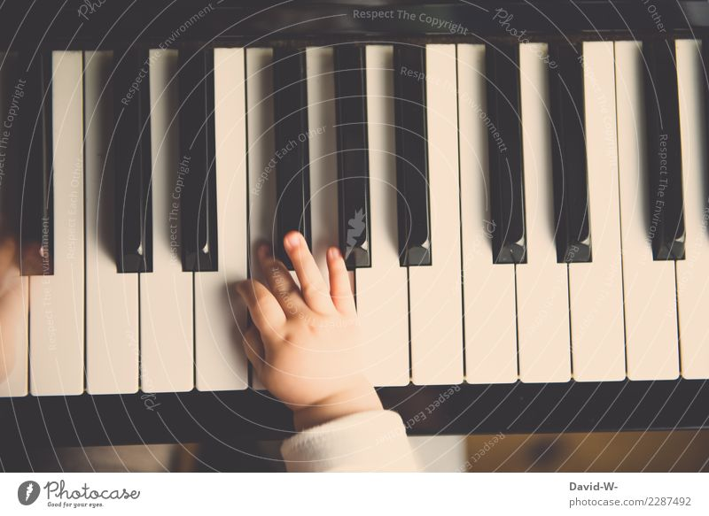 Child plays piano Piano Music Musician Toddler early musical education Smooth cautious Fingers Cute pretty curious Musical instrument Play piano tones Culture