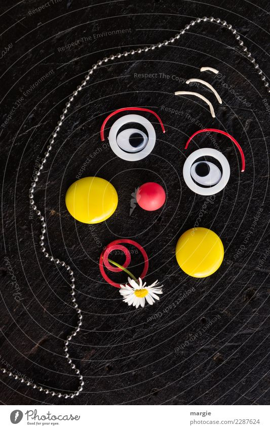 emotions...cool faces: sad clown Leisure and hobbies Human being Masculine Feminine Androgynous Face Eyes Mouth 1 Yellow Red Black Emotions Moody Sadness Clown
