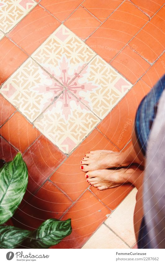 A woman's feet on colorful floor tiles Feminine Young woman Youth (Young adults) Woman Adults 1 Human being 18 - 30 years Tourism Vacation & Travel Cuba Tile