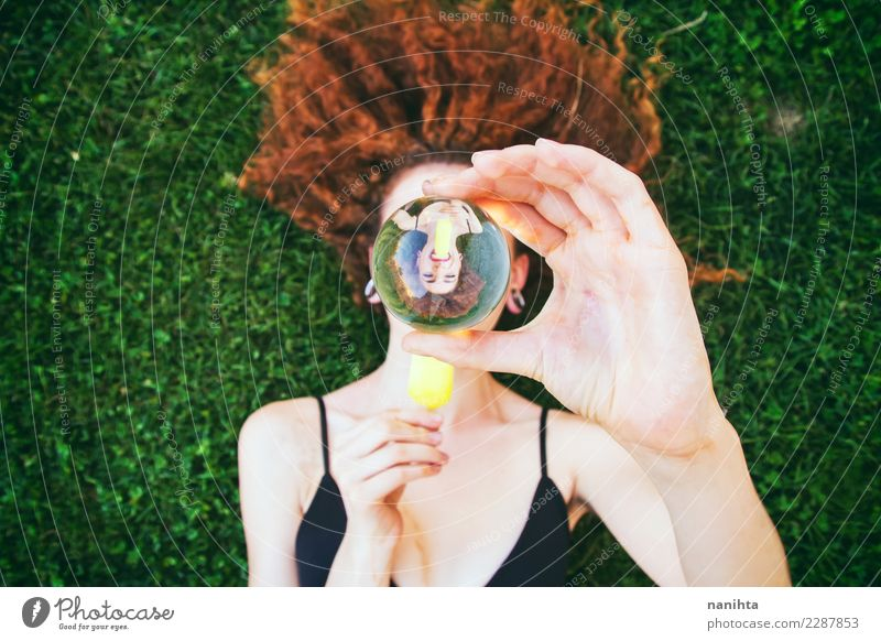 Young woman eating an ice cream viewed through a crystal ball Human being Vacation & Travel Youth (Young adults) Summer Beautiful Joy 18 - 30 years Adults