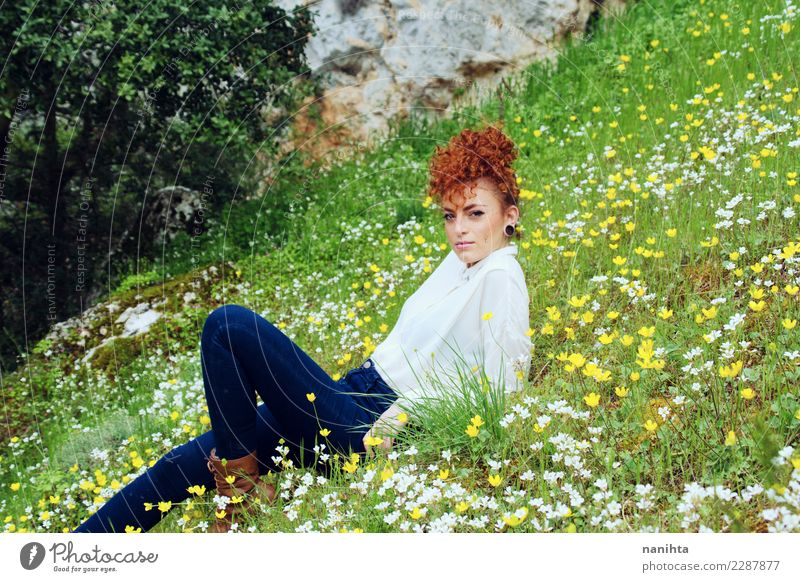 Redhead woman resting in a field of flowers Lifestyle Elegant Style Hair and hairstyles Wellness Harmonious Well-being Senses Relaxation Vacation & Travel