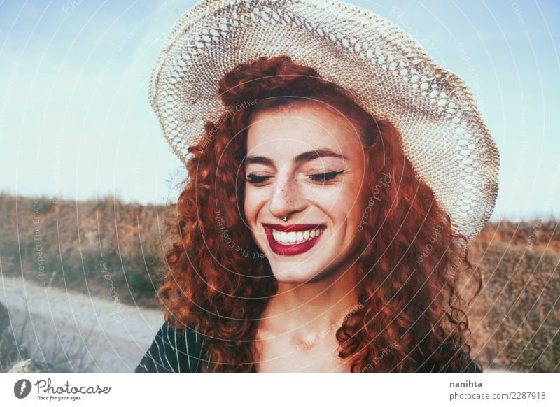 Young and happy redhead woman Human being Nature Youth (Young adults) Young woman Beautiful Joy 18 - 30 years Face Adults Warmth Lifestyle Feminine Style