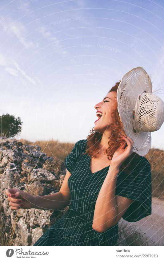 Young woman laughing outdoors Lifestyle Elegant Style Joy Hair and hairstyles Wellness Vacation & Travel Tourism Freedom Summer Summer vacation Human being