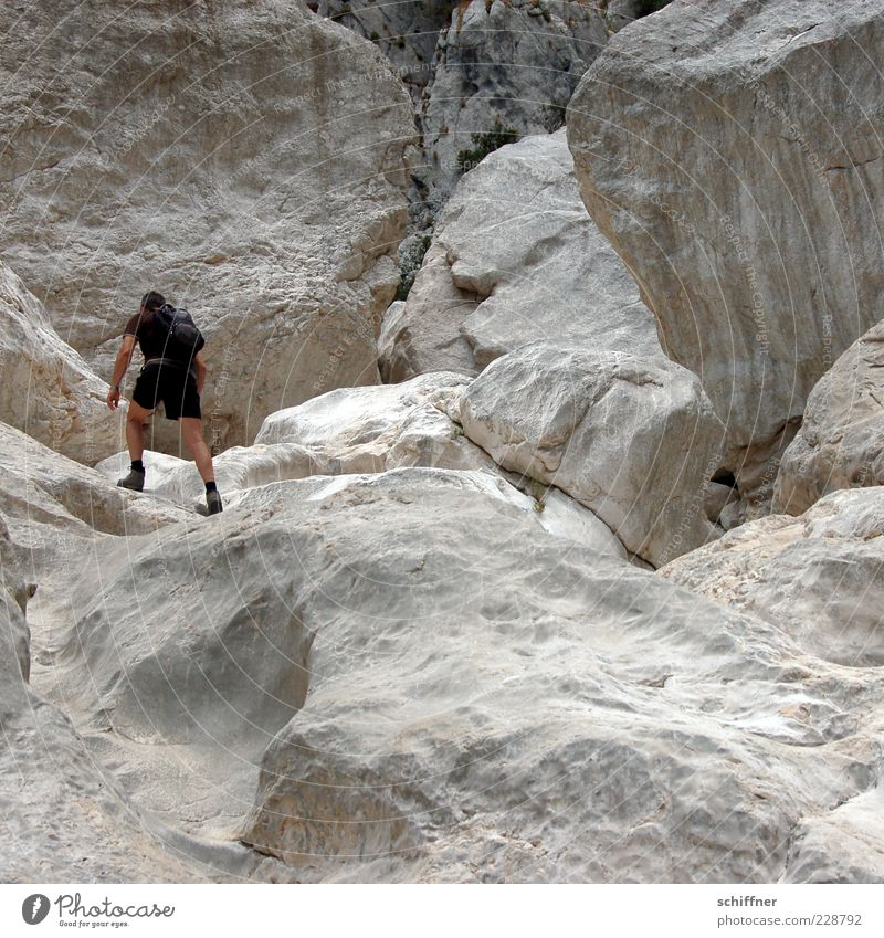 Human being Man Vacation & Travel Adults Mountain Rock Masculine Hiking Tourism Trip Adventure Climbing Athletic Canyon Cervice Wall of rock