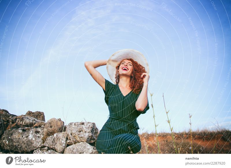 Young redhead woman so happy in the country Lifestyle Elegant Style Wellness Well-being Vacation & Travel Tourism Trip Adventure Summer Summer vacation