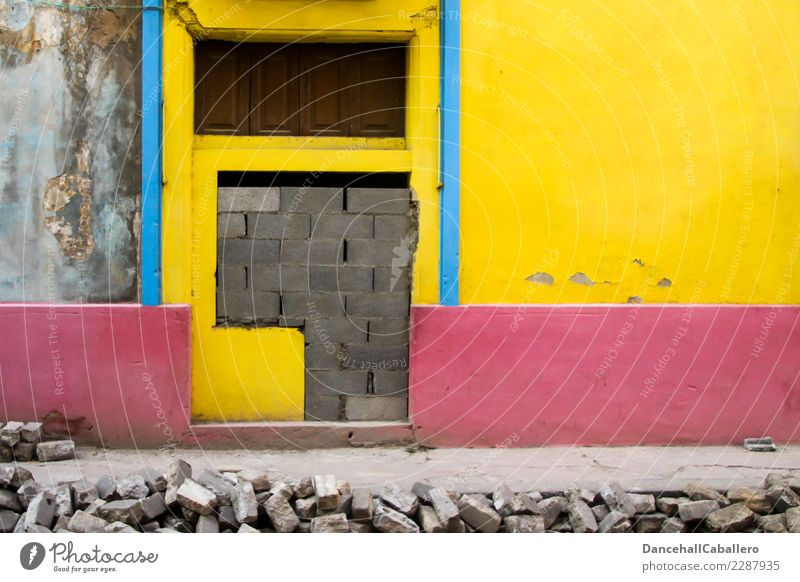 Old Blue Town House (Residential Structure) Window Architecture Yellow Wall (building) Building Wall (barrier) Gray Pink Retro Dirty Door Poverty