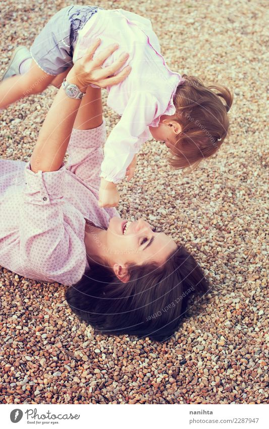 Playful mother and daughter Lifestyle Joy Healthy Wellness Well-being Playing Children's game Vacation & Travel Parenting Human being Feminine Toddler Girl