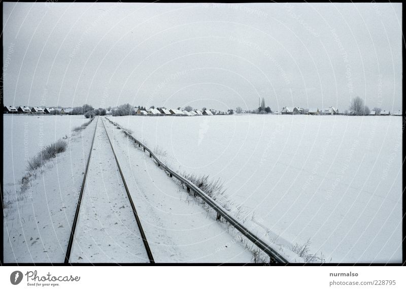 cold target Far-off places Environment Nature Landscape Winter Beautiful weather Ice Frost Field Village Rail transport Railroad tracks Railroad system Original