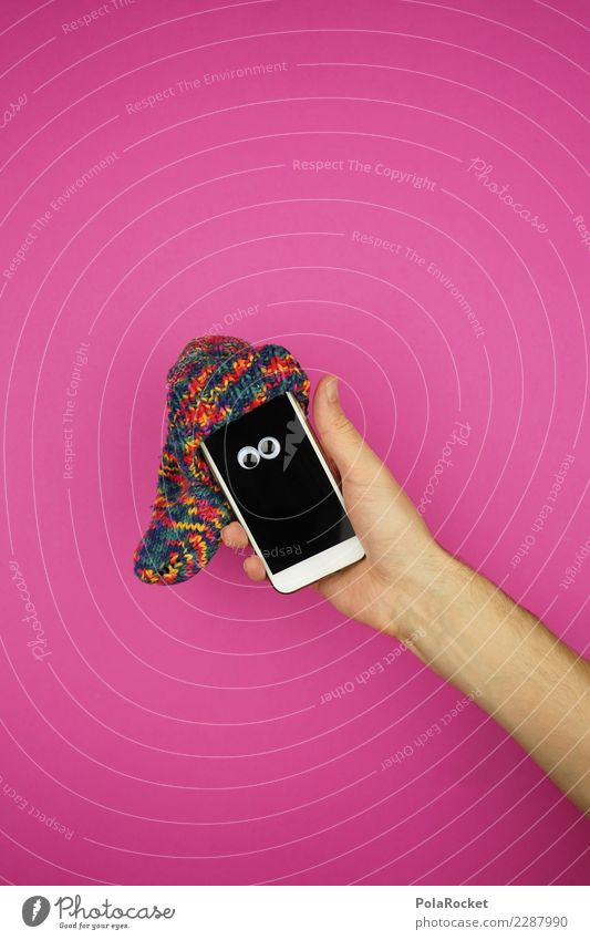 #AS#crazy tech Art Esthetic Pink Cellphone Mobility Mobile Mobile communications Cap Stockings Hand Arm Eyes Crazy Cute Screen Colour photo Multicoloured