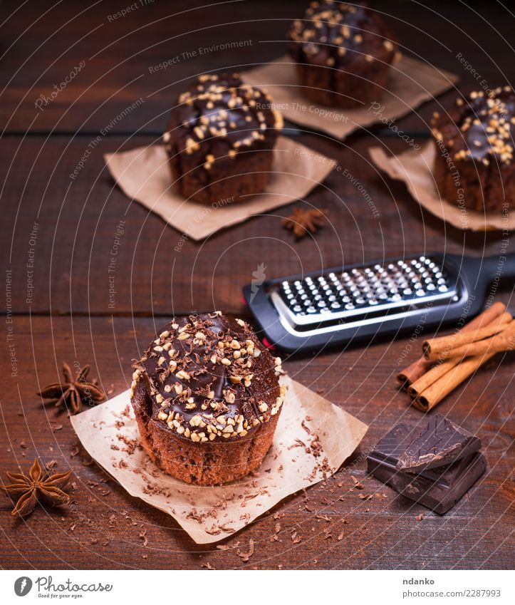 chocolate muffin Dessert Nutrition Table Paper Wood Fresh Delicious Above Brown Muffin cooking background Bakery cake Cupcake eat fat food Gourmet Home-made