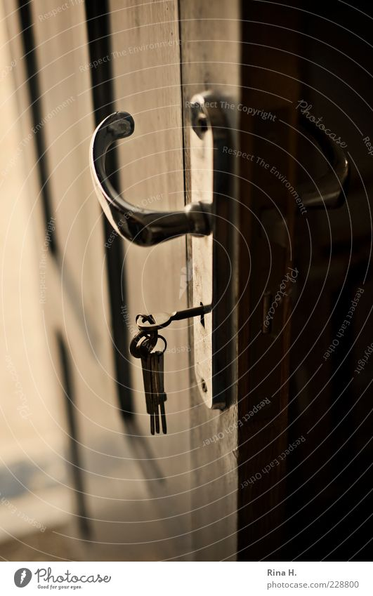 mysteries Lock Key Dark Curiosity Mysterious Open Door handle Subdued colour Interior shot Shallow depth of field Deserted Glittering Reflection