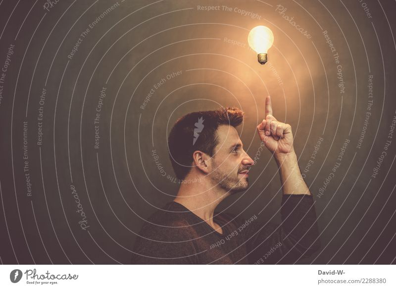 a man with a light bulb over his head Idea Man Head incursion ponder Think Incidental Human being Face portrait Concentrate Looking Thought Happiness Optimism