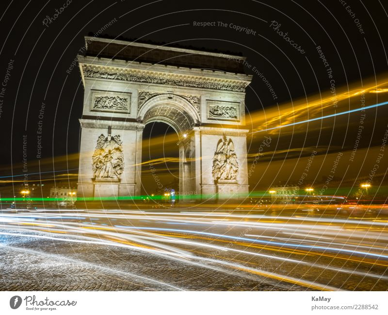 Arc de Triump with light tracks Paris France Europe Town Downtown Deserted Manmade structures Architecture Triumphal arch Tourist Attraction Landmark Monument