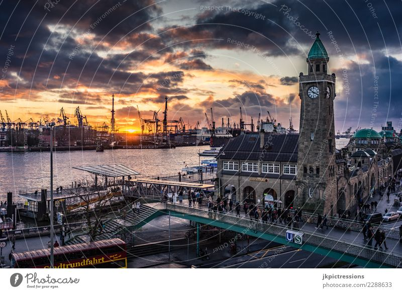 Hamburg harbour landing bridges sunset cloudy Europe Germany Elbe Town Harbour Water Channel Sun Sunset Industry Clouds Sky Gorgeous Beautiful Dramatic Wet