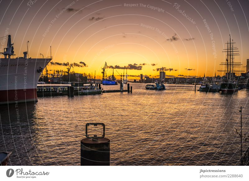 Hamburg Port Landungsbrücken Sunset Europe Germany Elbe Town Harbour Water Channel Industry Sky Gorgeous Beautiful Watercraft Commercial enterprise