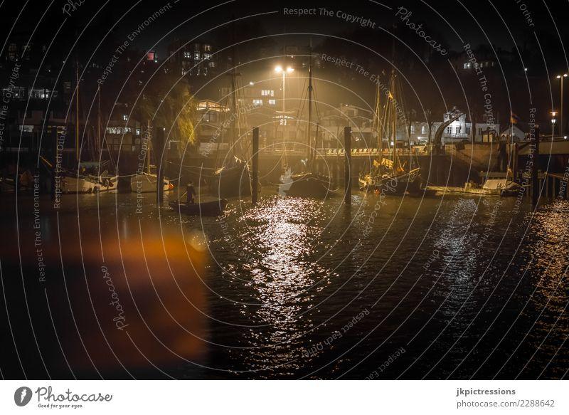 Town Water Clouds Dark Black Yellow Cold Germany Watercraft Fog Gloomy Europe Wet Hamburg Harbour Footbridge