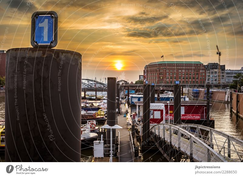 Hamburg harbour Speicherstadt sunset cloudy Europe Germany Elbe Town Harbour Water Channel Sun Sunset Industry Sky Gorgeous Beautiful Old warehouse district