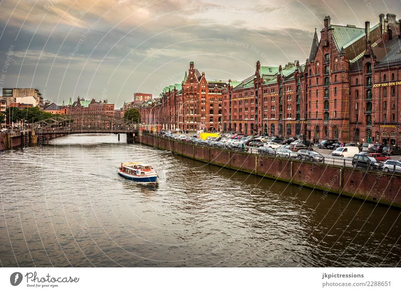 Hamburg Speicherstadt Europe Germany Elbe Town Harbour Water Channel Industry Clouds Sky Gorgeous Beautiful Old warehouse district Jetty Watercraft