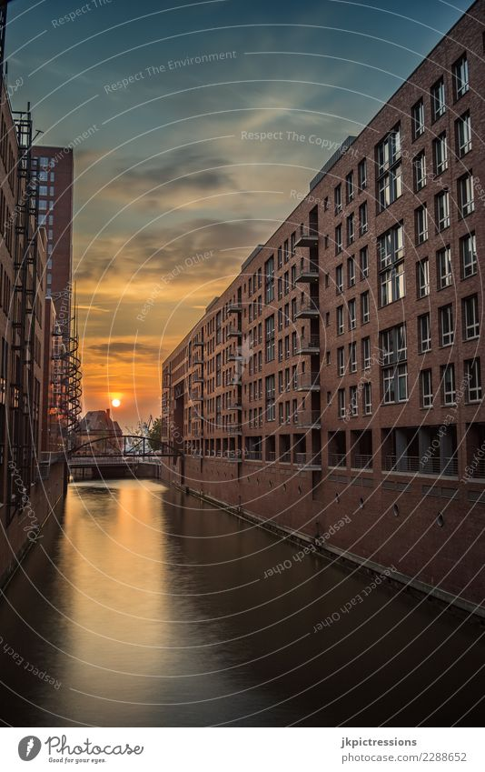 Hamburg harbour Speicherstadt sunset Europe Germany Elbe Town Harbour Water Channel Sun Sunset Industry Sky Gorgeous Beautiful Old warehouse district Watercraft