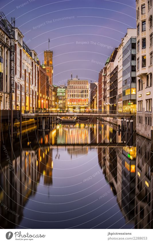 Hamburg City Centre Bleichensteg Europe Germany Downtown Town Water Channel Sky Gorgeous Beautiful hustle and bustle Bridge Footbridge Warmth Vacation & Travel