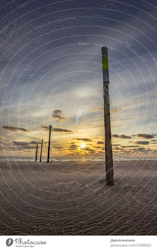 Saint Peter Ording Sunset Sky Dusk Ocean Landscape Nature Light Water Clouds Sand Evening Dreamily Far-off places Infinity Wooden stake Germany Europe North Sea