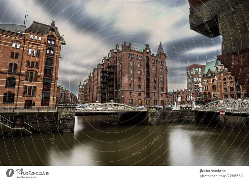 Hamburg Speicherstadt Autumn River Town Architecture Vacation & Travel Europe Bridge Manmade structures Night Appearance Quarter Gray Channel